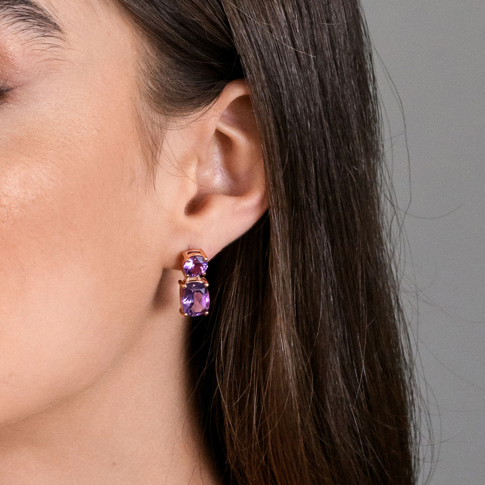 Cushion-Cut and Round Amethyst Drop Earrings in Rose Gold Plated Sterling Silver - 1