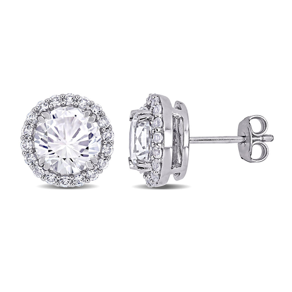 8.0mm Lab-Created White Sapphire Frame Stud Earrings in Sterling Silver