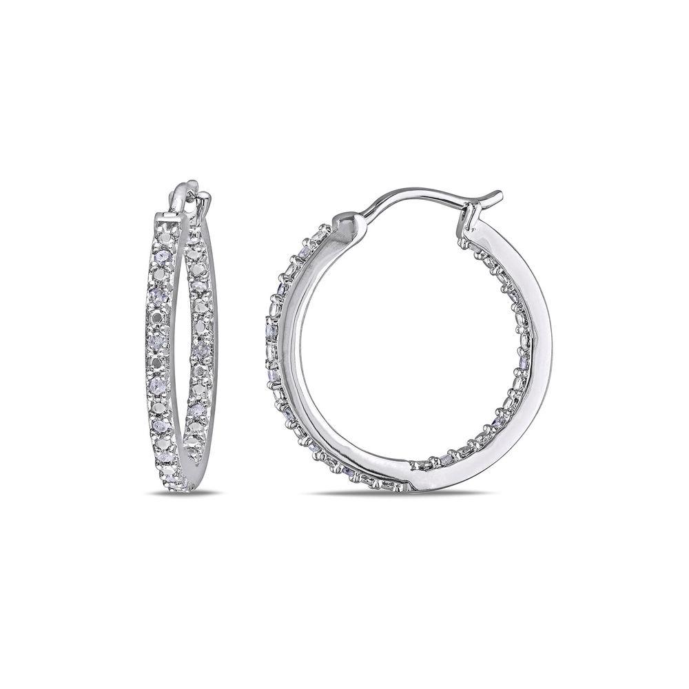 1/4 CT. T.W. Diamond Inside-Out Hoop Earrings in Sterling Silver