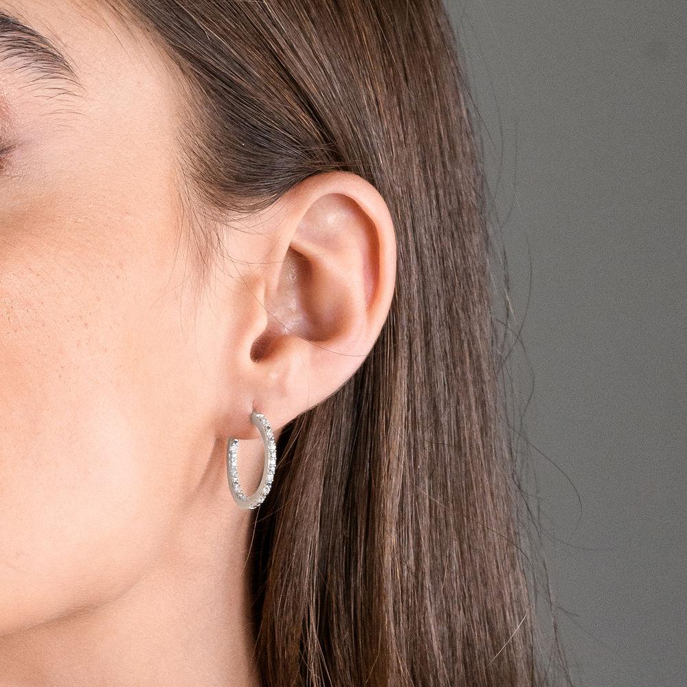 1/4 CT. T.W. Diamond Inside-Out Hoop Earrings in Sterling Silver - 1