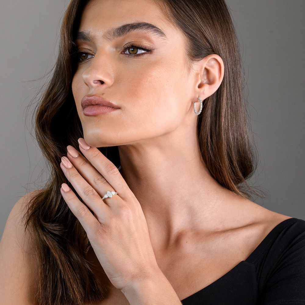 1/4 CT. T.W. Diamond Inside-Out Hoop Earrings in Sterling Silver - 2