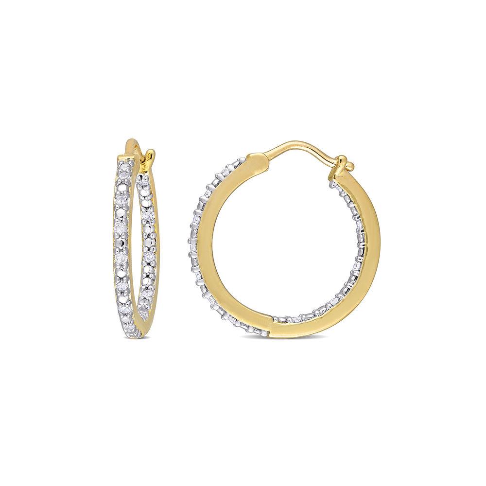 1/4 CT. T.W. Diamond Inside-Out Hoop Earrings in Gold Plated Sterling Silver