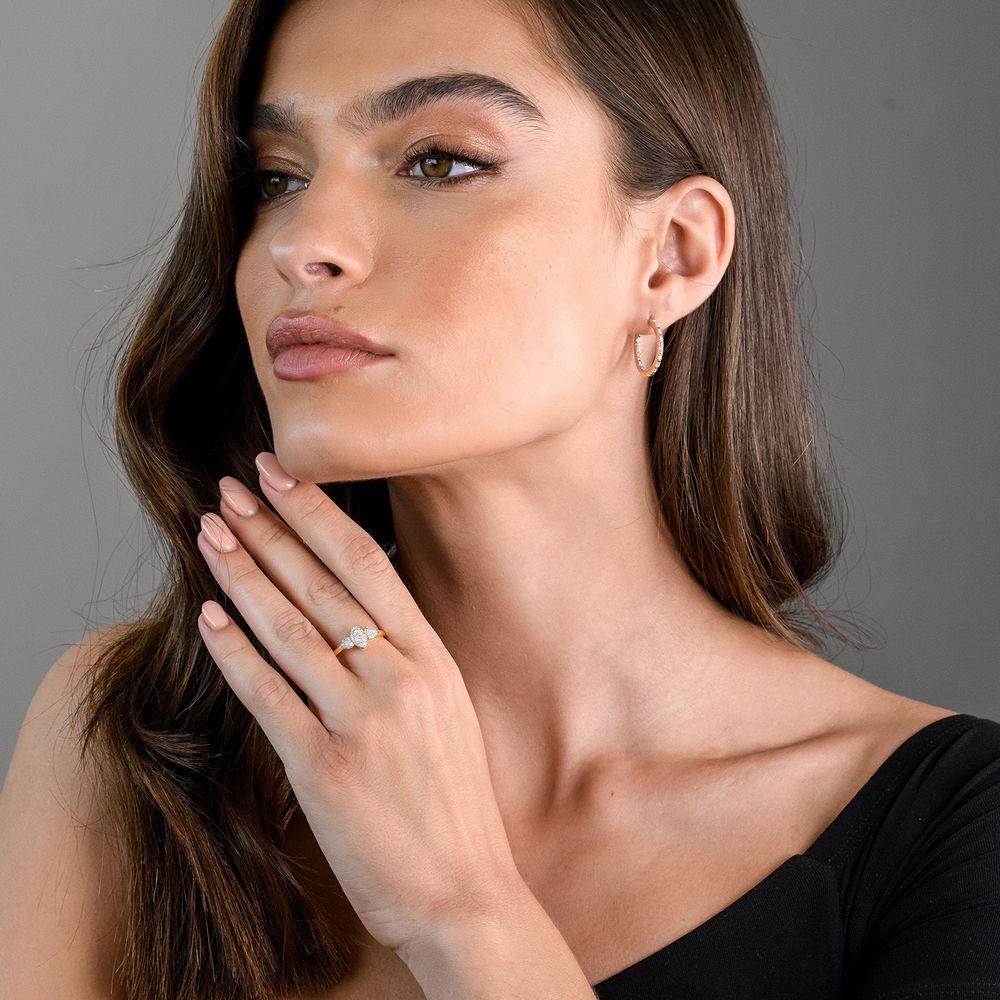 1/4 CT. T.W. Diamond Inside-Out Hoop Earrings in Gold Plated Sterling Silver - 2
