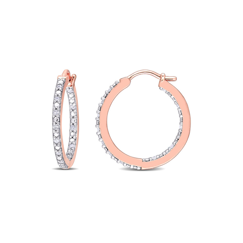 1/4 CT. T.W. Diamond Inside-Out Hoop Earrings in Rose Gold Plated Sterling Silver