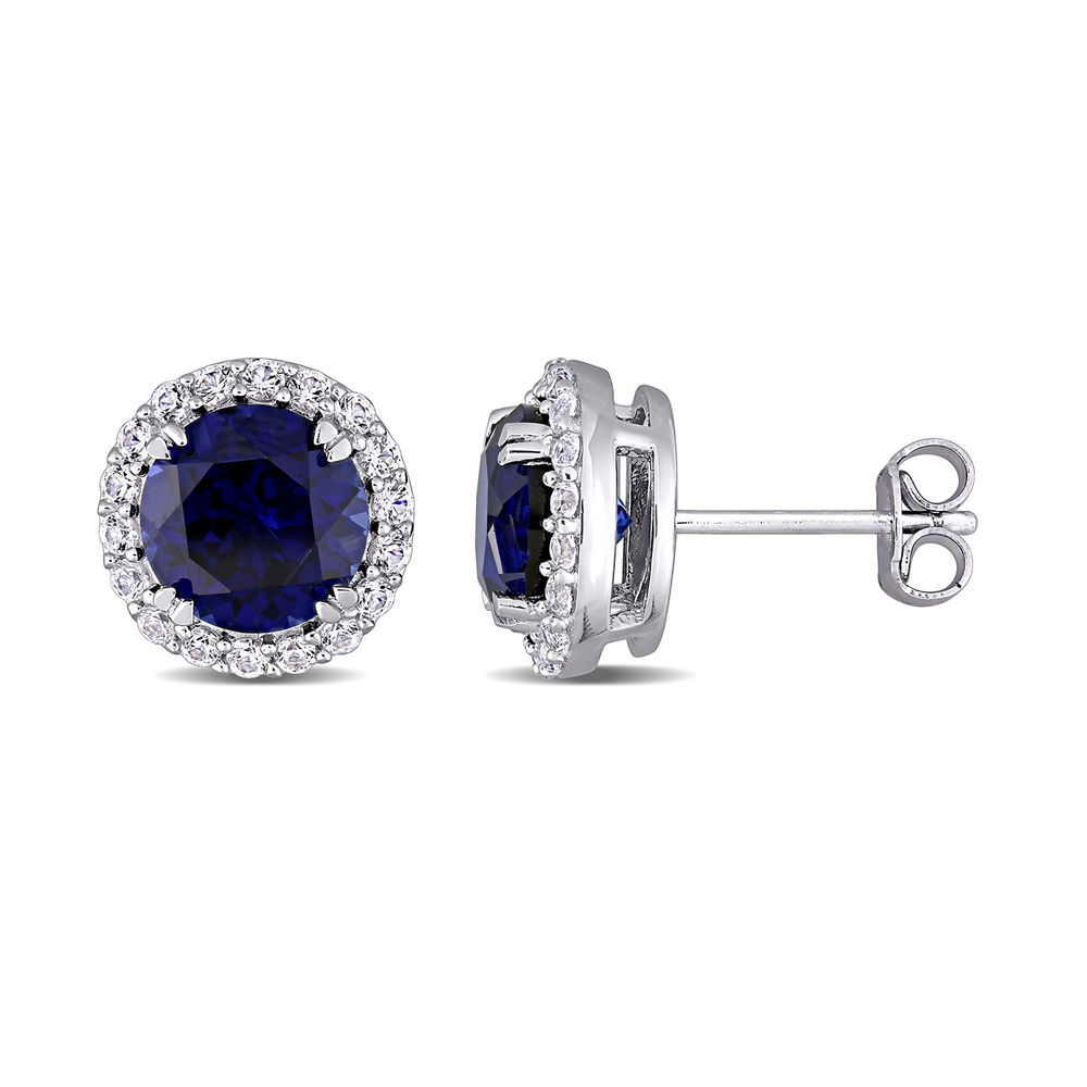 8.0mm Lab-Created Blue and White Sapphires Frame Stud Earrings in Sterling Silver