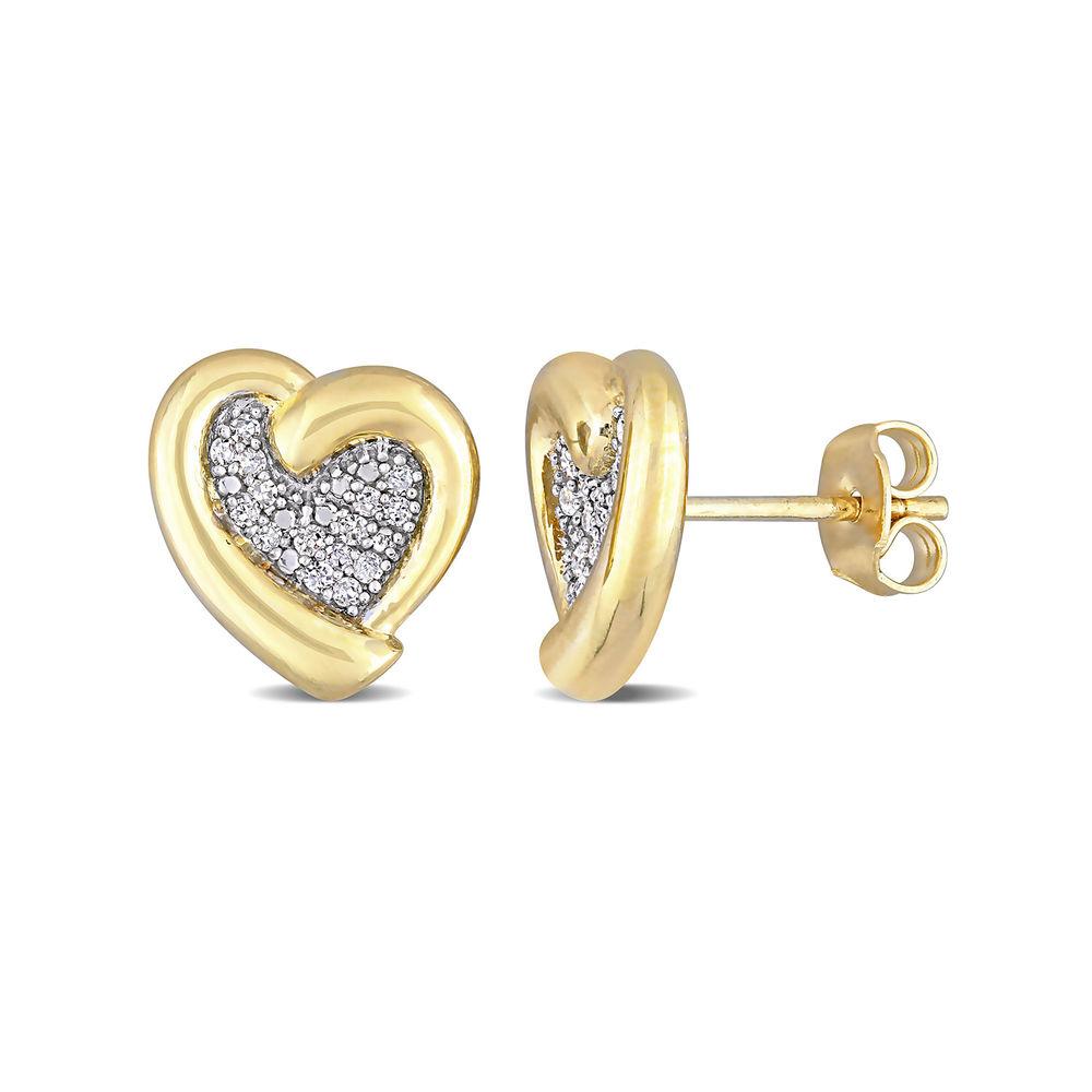 1/6 CT. T.W. Diamond Heart Stud Earrings in Gold Plated Sterling Silver