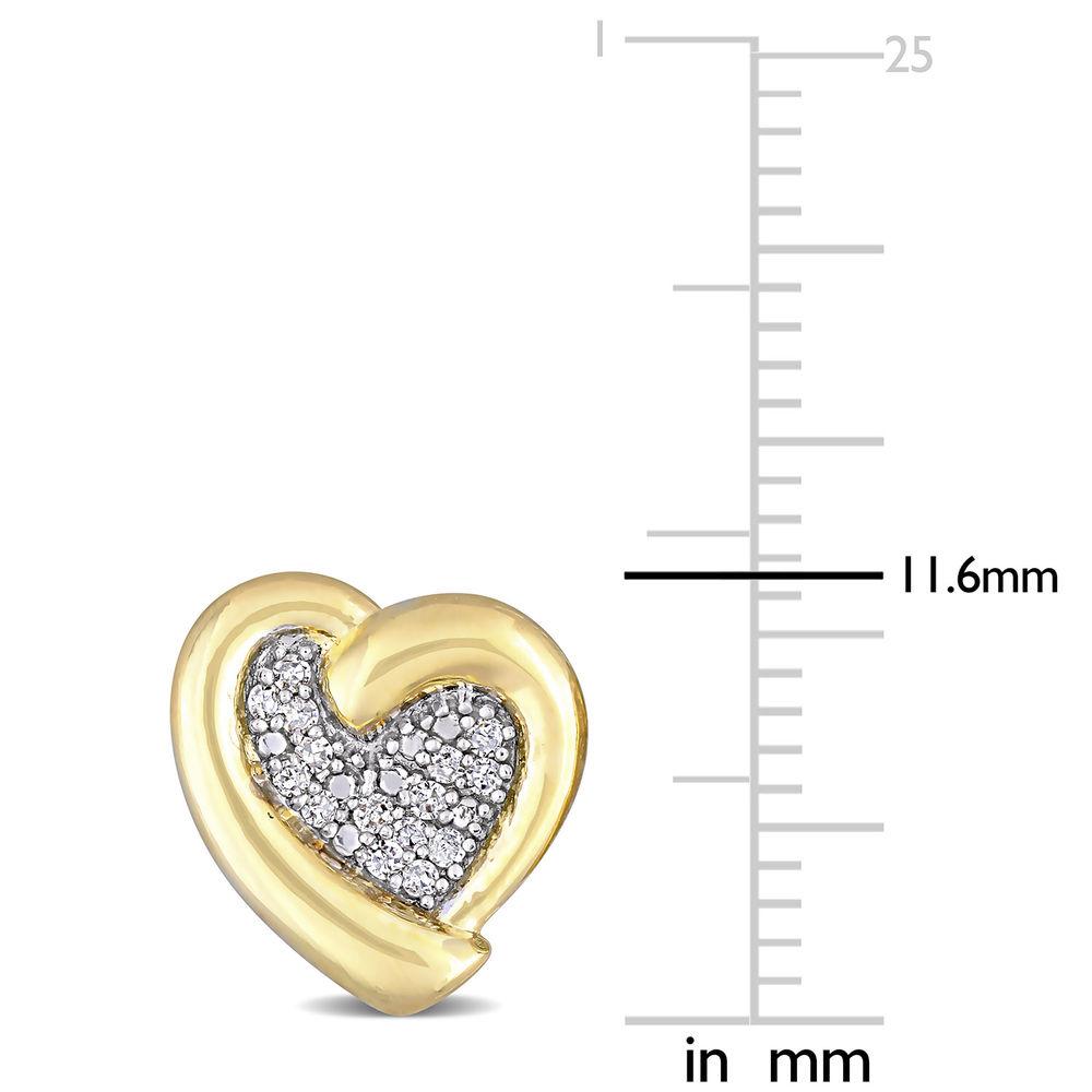 1/6 CT. T.W. Diamond Heart Stud Earrings in Gold Plated Sterling Silver - 3
