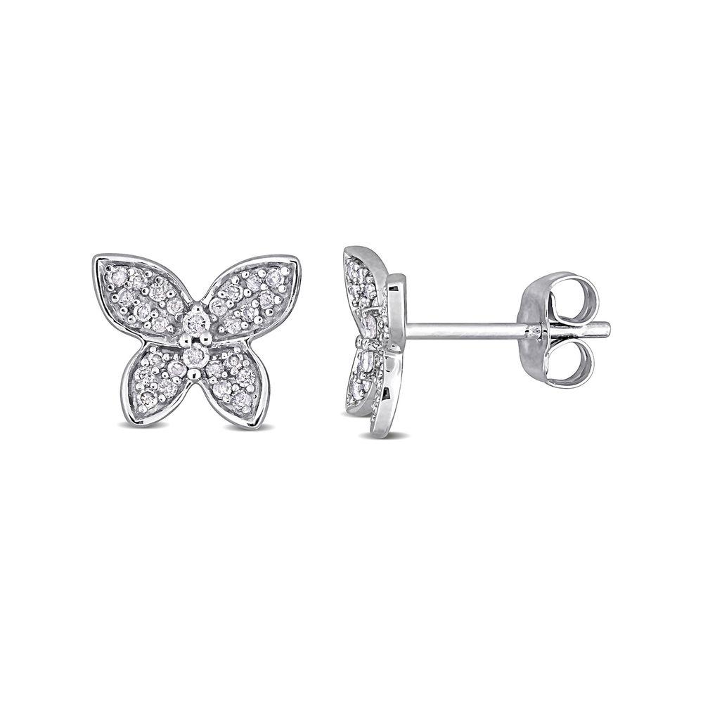 1/5 CT. T.W. Diamond Butterfly Stud Earrings in 10k White Gold
