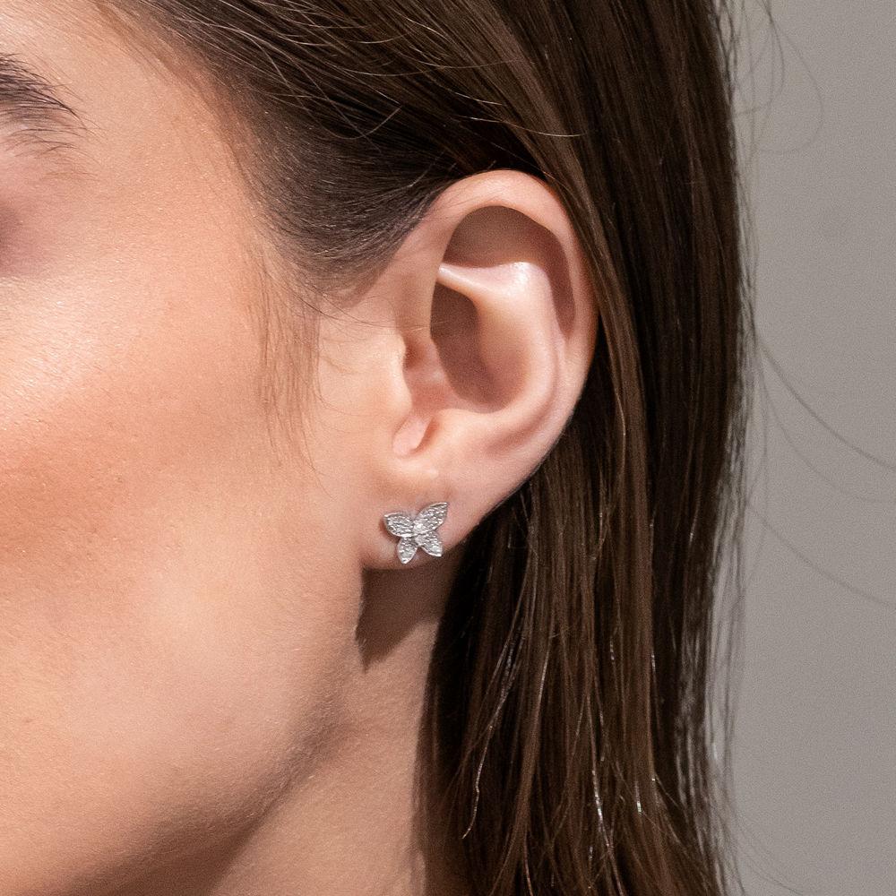 1/5 CT. T.W. Diamond Butterfly Stud Earrings in 10k White Gold - 1