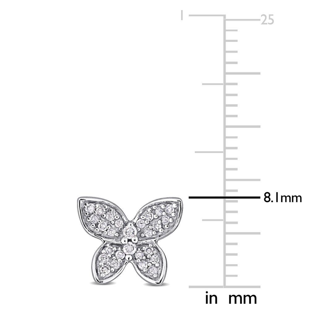 1/5 CT. T.W. Diamond Butterfly Stud Earrings in 10k White Gold - 3