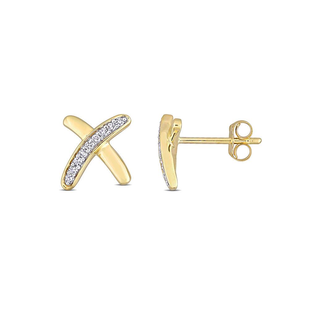 1/10 CT. T.W. Diamond X Stud Earrings in 10k Yellow Gold
