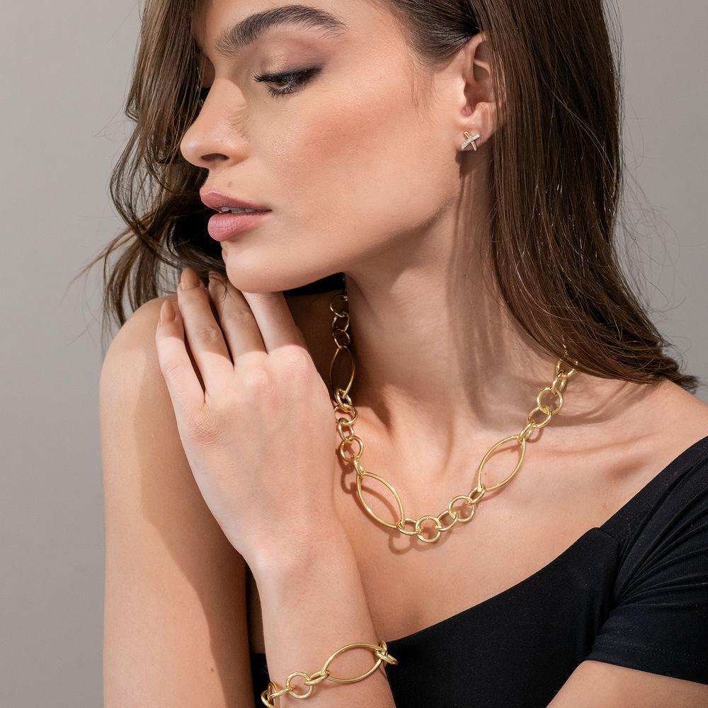 1/10 CT. T.W. Diamond X Stud Earrings in 10k Yellow Gold - 2