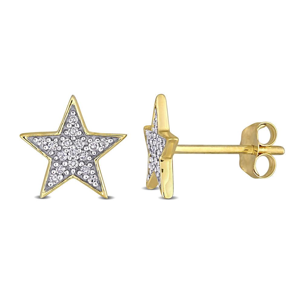 1/10 CT. T.W. Diamond Star Stud Earrings in 10k Yellow Gold