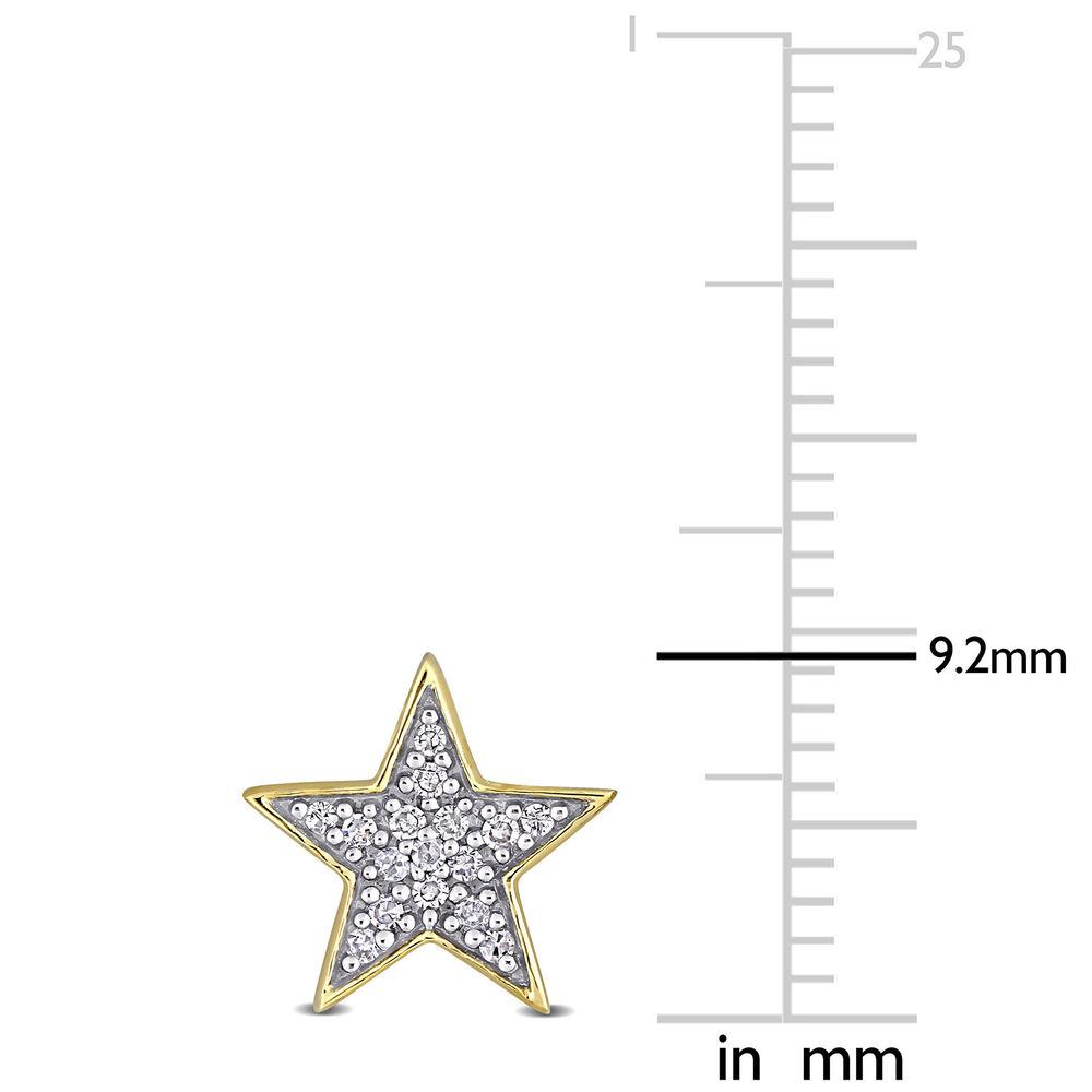 1/10 CT. T.W. Diamond Star Stud Earrings in 10k Yellow Gold - 3
