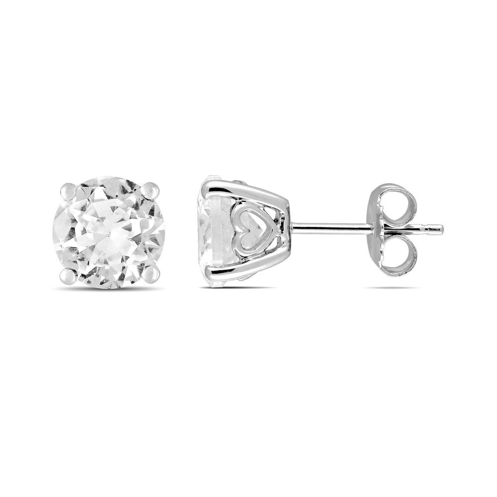4 4/5 CT TGW Created White Sapphire Fashion Post Earrings in Sterling Silver