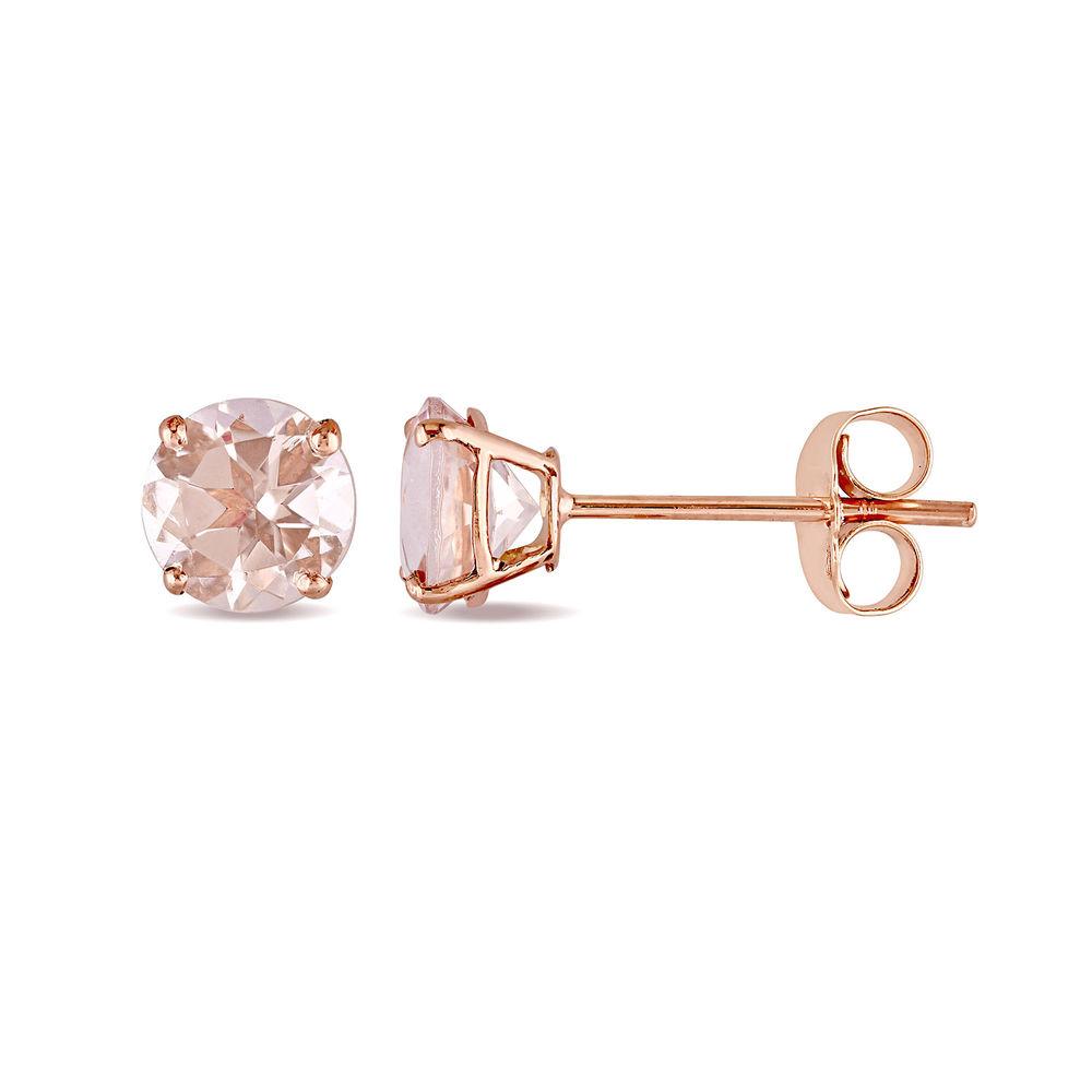 1 C.T T.G.W. Morganite Solitaire Earrings in 14K Rose Gold