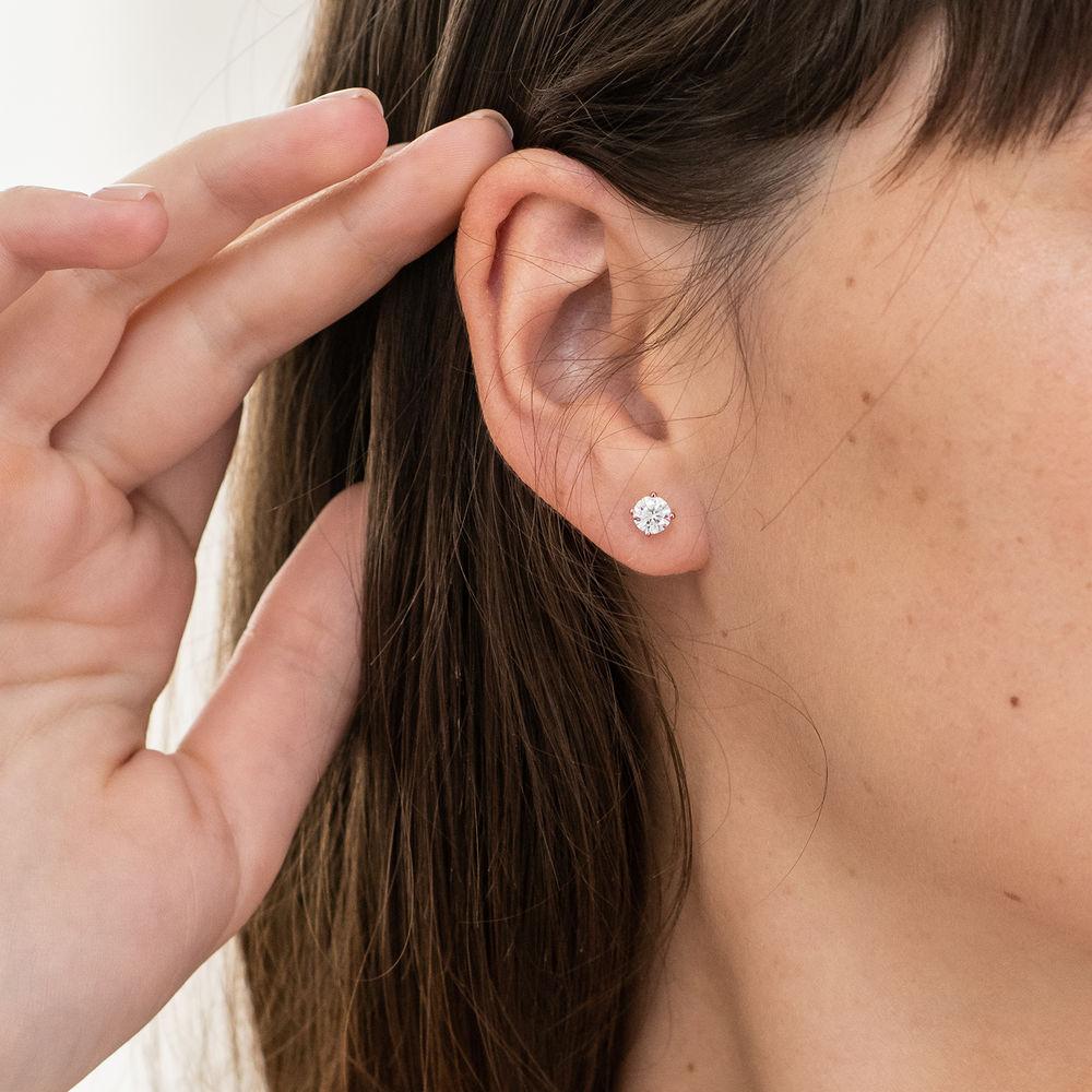 1 C.T T.G.W. Morganite Solitaire Earrings in 14K Rose Gold - 1