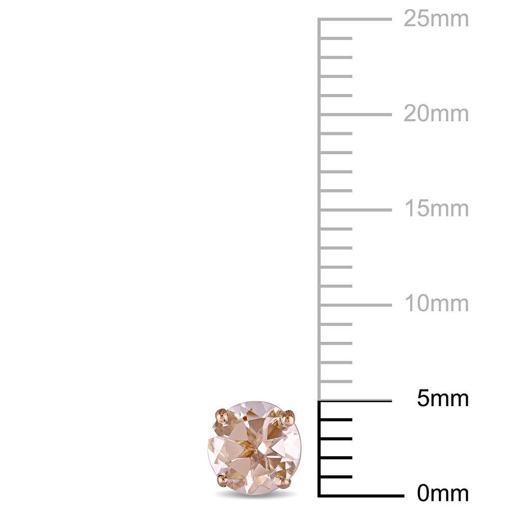 1 C.T T.G.W. Morganite Solitaire Earrings in 14K Rose Gold - 3