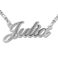 Sterling Silver Double Thickness Classic Name Necklace product photo