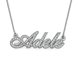 All Diamond 14k White Gold Personalized Necklace product photo