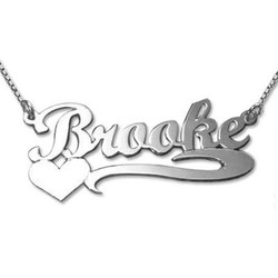 14k White Gold Heart Name Necklace product photo