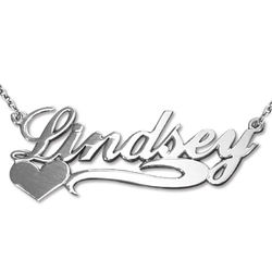 Side Heart Silver Personalized Necklace product photo
