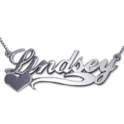 Side Heart 14k White Gold Name Necklace product photo