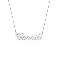Double Thickness 14k White Gold Carrie Name Necklace product photo