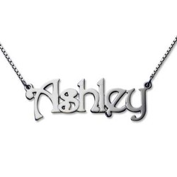 14k White Gold Name Necklace with Box Chain product photo