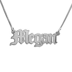 14k White Gold Old English Personalized Necklace product photo