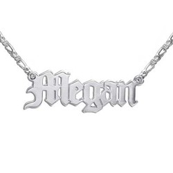 Double Thickness Old English Style Name Necklace product photo