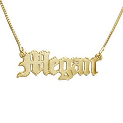 Durable 14k Gold Old English Style Necklace with Name product photo