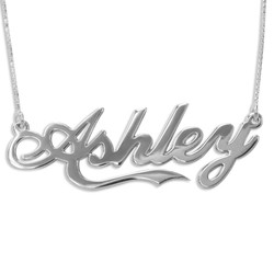 14k White Gold Inspired by Coca Cola Style Name Necklace product photo