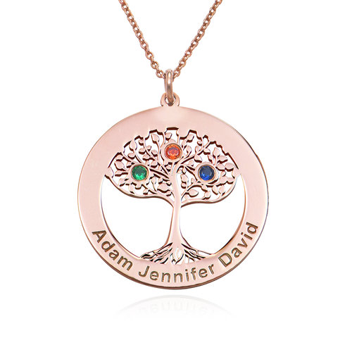 Rose Gold Plating Circle Tree of Life Necklace with Birthstones product photo