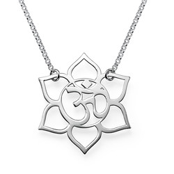 Lotus Flower Necklace with Om Symbol product photo