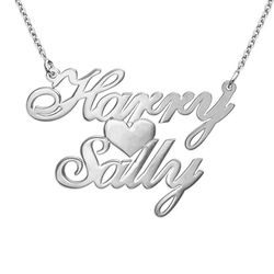 Silver Two Names & Heart Love Necklace product photo