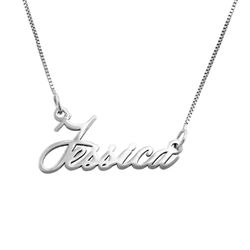 14K Tiny White Gold Name Necklace product photo