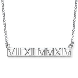 Roman Numeral Bar Necklace - Cut Out Design product photo