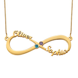 Infinity Name Necklace with Birthstones - 14k Gold product photo