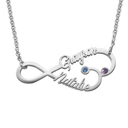 Infinity Heart Name Necklace with Birthstones product photo