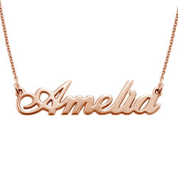 Small Classic Name Necklace in 18k Rose Gold Plated Sterling Silver product photo