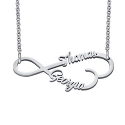 Infinity Heart Name Necklace in Silver product photo