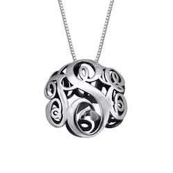 3D Monogram Necklace in Sterling Silver product photo