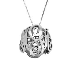 3D Monogram Necklace in 14k White Gold product photo