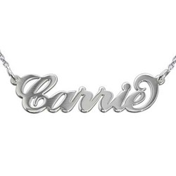 Silver Carrie Name Necklace with Rollo Chain product photo
