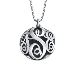Contoured Monogram Necklace in Sterling Silver product photo