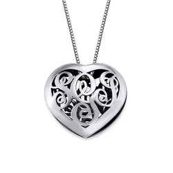 Contoured Silver Monogram Necklace - Heart shape product photo