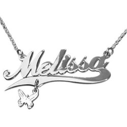 Extra Thick Silver Charm Name Necklace - Rollo Chain product photo