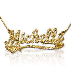Sparkling Diamond-Cut Gold Plated Heart Name Necklace product photo