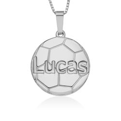 Kids Personalized Jewelry - Silver Soccer Pendant product photo